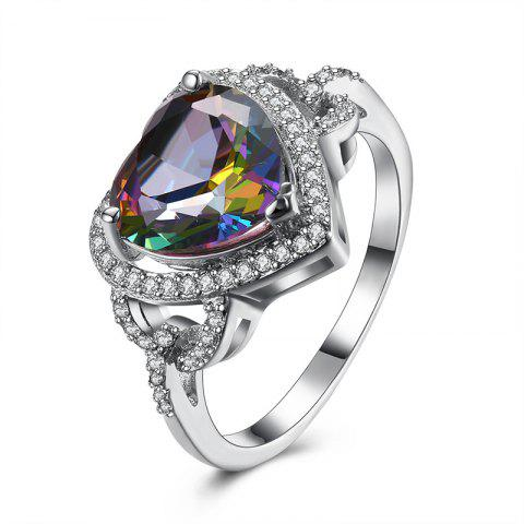 Faux Gemstone Sparkly Heart Finger Ring