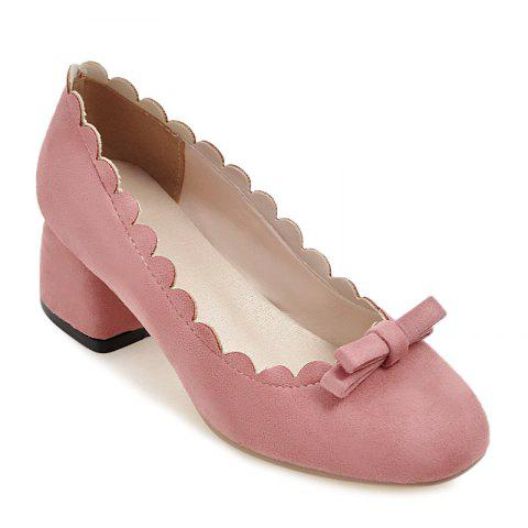 Chic Scallop Bowknot Chunky Pumps - 40 PINK Mobile