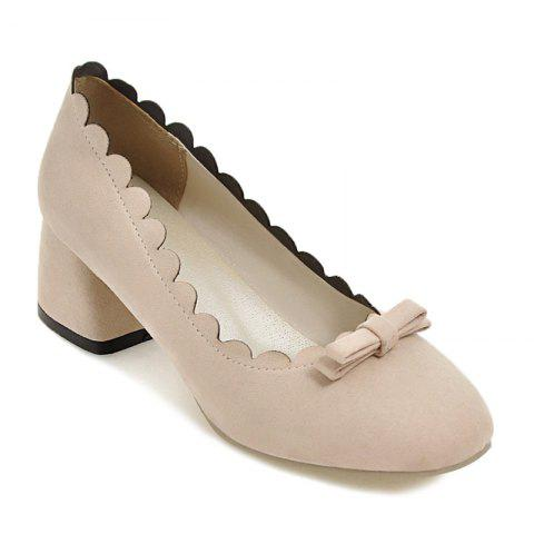 Trendy Scallop Bowknot Chunky Pumps - 37 BEIGE Mobile