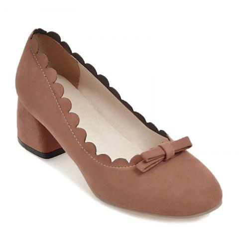Store Scallop Bowknot Chunky Pumps - 37 JACINTH Mobile