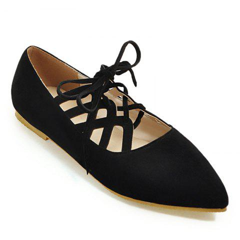 Discount Hollow Out Pointed Toe Flat Shoes - 37 BLACK Mobile