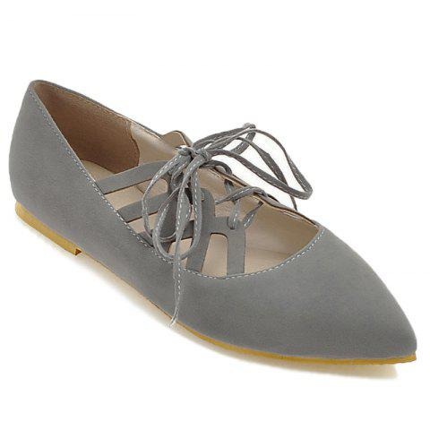 Discount Hollow Out Pointed Toe Flat Shoes GRAY 41