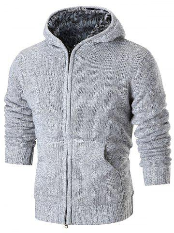 Faux Fur Lining Zip Up Hooded Cardigan