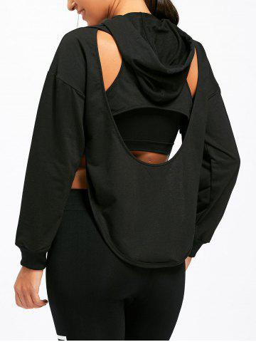 Unique Kangaroo Pocket Back Cutout Hoodie - M BLACK Mobile