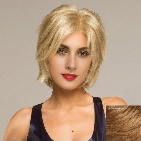 Short Side Parting Shaggy Straight Lace Front Hair Hair Wig 18 # Or Blonde Foncé