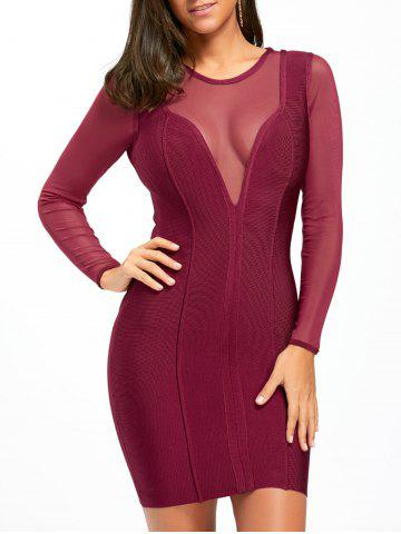 Affordable Mesh Panel Sheer Long Sleeve Bandage Dress PURPLISH RED S