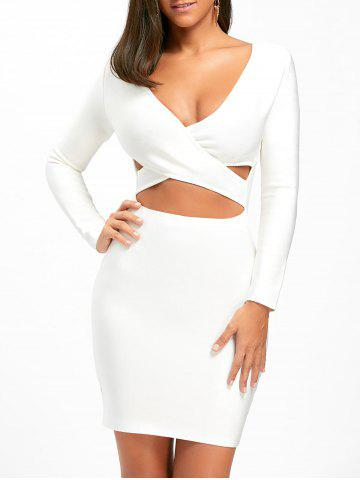 New Long Sleeve Cut Out Bandage Dress WHITE S