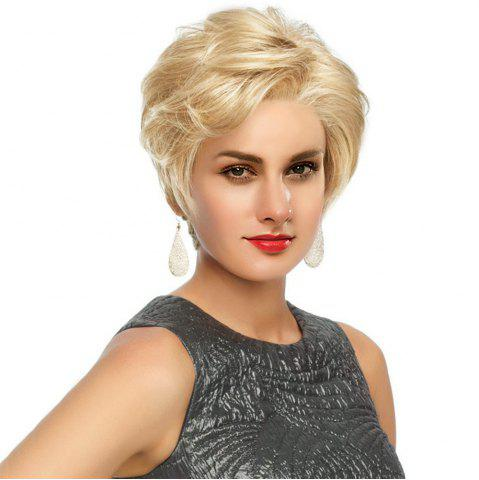 Fashion Short Side Bang Fluffy Slightly Curled Human Hair Lace Front Wig BLONDE WITH AUBURN BROWN
