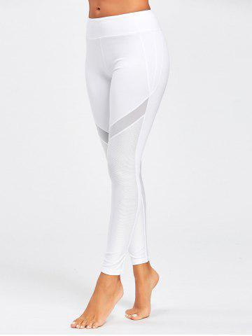 Fancy Midi Waist Sheer Mesh Panel Workout Leggings WHITE S