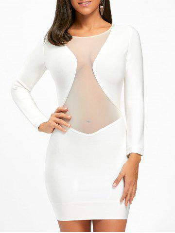 Latest Long Sleeve Mesh Insert Bandage Dress WHITE M