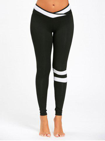 Latest Contrast Stripe Panel Workout Leggings - S BLACK Mobile