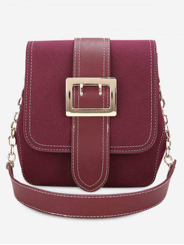 Trendy Buckle Strap Stitching Chain Shoulder Bag - PURPLISH RED  Mobile