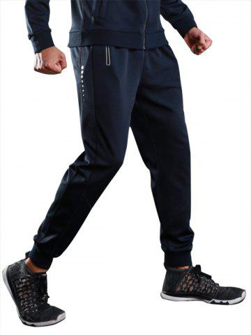 Sports Casual Zip Pocket Jogher Pants Bleu L