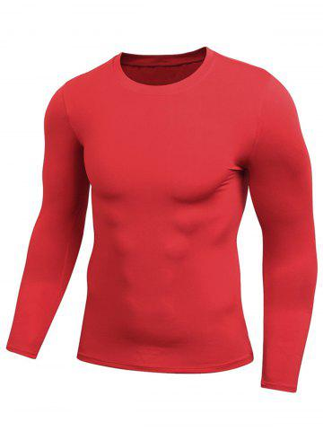 Unique Quick Dry Fitted Gym Long Sleeve T-shirt RED 2XL