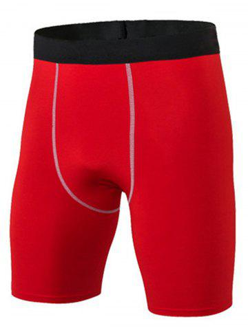 Fancy Quick Dry Stretchy Fitted Fitness Jammer Shorts - 3XL RED Mobile