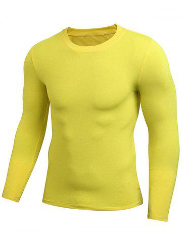 Latest Quick Dry Fitted Gym Long Sleeve T-shirt - 2XL YELLOW Mobile