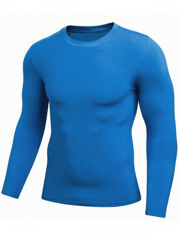 Buy Quick Dry Fitted Gym Long Sleeve T-shirt BLUE 2XL
