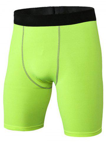Outfit Quick Dry Stretchy Fitted Fitness Jammer Shorts NEON GREEN 3XL