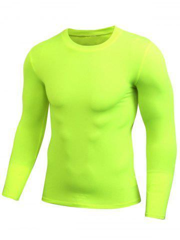Discount Quick Dry Fitted Gym Long Sleeve T-shirt - 2XL NEON GREEN Mobile