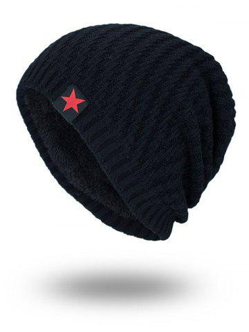 Trendy Star Label Embellished Stripy Thicken Knit Hat