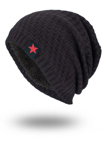 Star Label Embellished Stripy Thread Knit Hat Bis
