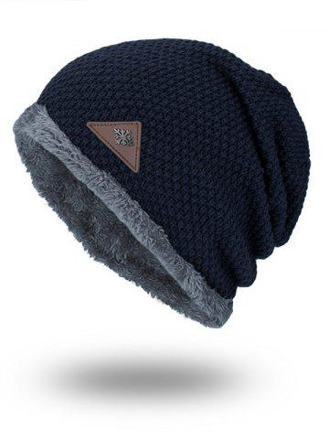 Étiquette triangulaire Embellished Fluffy Panel Thicken Knit Hat Bleu Violet