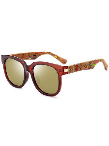 Outfit Full Frame Design Marble Grain Legs Mirror Sunglasses TEA-COLORED