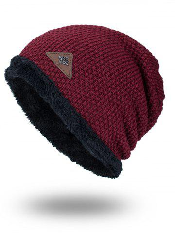 Best Triangle Label Embellished Fluffy Panel Thicken Knit Hat DARK RED