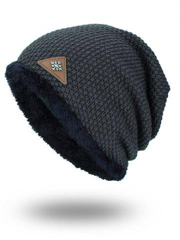Hot Triangle Label Embellished Fluffy Panel Thicken Knit Hat