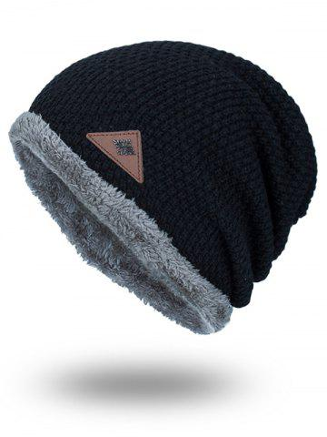 Store Triangle Label Embellished Fluffy Panel Thicken Knit Hat