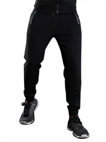 Sports Casual Zip Pocket Jogher Pants Noir L