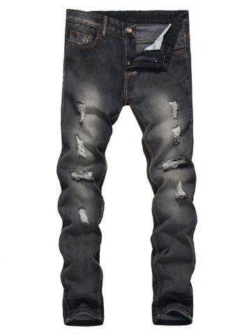 Shops Straight Leg Bleached Effect Distressed Jeans BLACK M