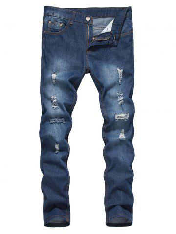 Shops Straight Leg Bleached Effect Distressed Jeans - M DENIM BLUE Mobile