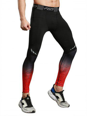 Buy Dots Paint Dip Dye Stretch Skinny Athletic Pants RED M
