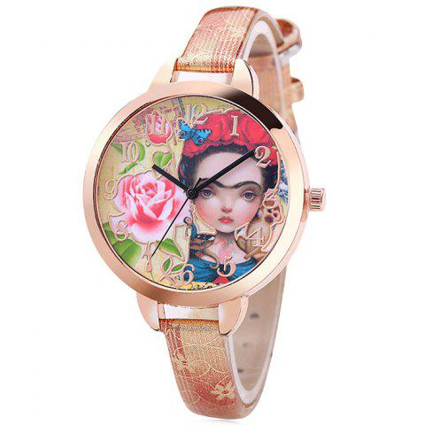 Flower Girl Face Faux Leather Strap Watch