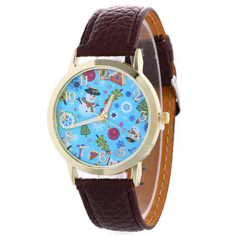 Shop Christmas Theme Face Quartz Watch BROWN