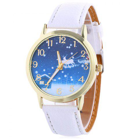 Shops Christmas Night Deer Face Quartz Watch - WHITE  Mobile