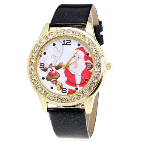 Chic Christmas Santa Deer Face Rhinestone Number Watch BLACK