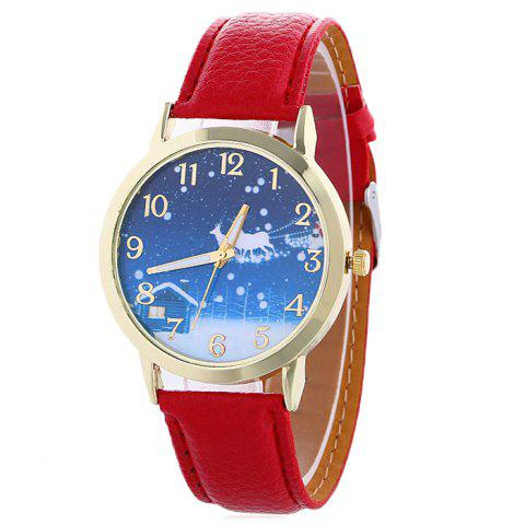 Latest Christmas Night Deer Face Quartz Watch - RED  Mobile