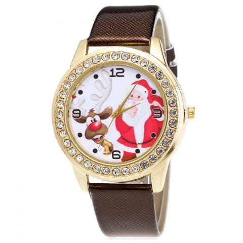 Hot Christmas Santa Deer Face Rhinestone Number Watch - BROWN  Mobile