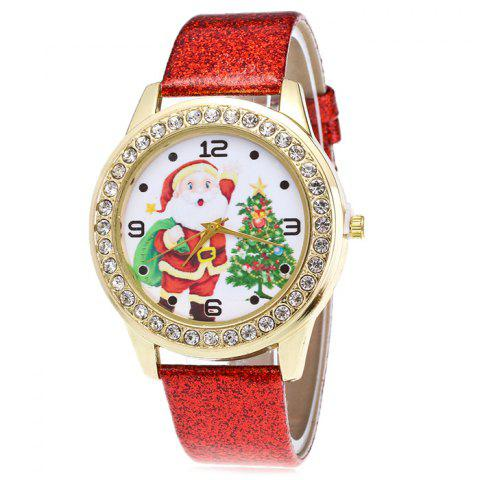 Store Glitter Strap Christmas Santa Tree Face Watch