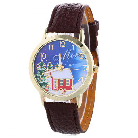 Online Christmas Tree House Face Quartz Watch BROWN