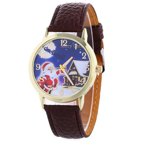 Outfit Christmas Santa House Face Quartz Watch - BROWN  Mobile