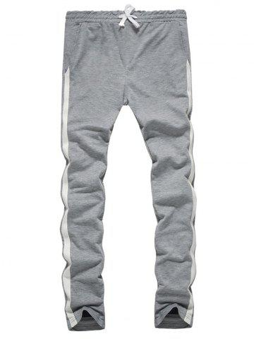 Side Stripe Design Drawstring Sweatpants Gris Clair XL