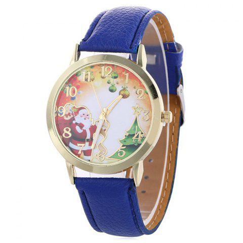 Latest Christmas Santa Baubles Face Quartz Watch BLUE
