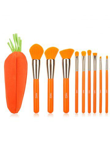 Fashion 9 Pieces Makeup Powder Brush Suit with Carrot Bag - ORANGE RED  Mobile