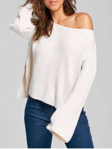 Discount One Shoulder Knit Short Ribbed Sweater - ONE SIZE BEIGE Mobile