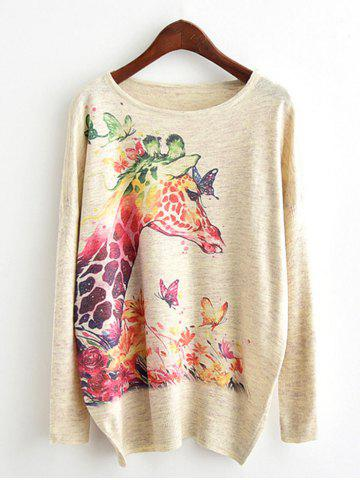 Affordable Dolman Sleeve Giraffe Print Knitwear