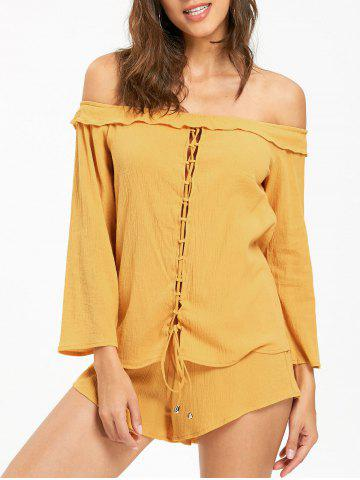 Cheap Off The Shoulder Lace Up Blouse with Shorts DEEP YELLOW XL