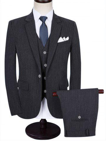 Sale Flap Pocket Stripe Three-piece Business Suit GRAY 2XL